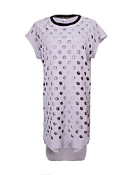 Women's Patchwork Black / Gray Dresses , Casual Round Short Sleeve