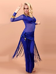 Belly Dance Outfits Women's Performance Rayon / Spandex Tassel(s) 3 Pieces Black / Purple / Royal Blue
