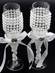 Wedding Accessories Sparkling Love Bride Groom Twisted Champagne Glasses Toasting Flutes, Set of 2