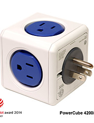 Besteye® Allocacoc PowerCube 4200/US Power outlet with 4 Outlets Dual USB Port Wall Adapter Power Strip