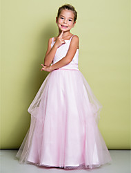 Lanting Bride A-line Floor-length Flower Girl Dress - Satin / Tulle Sleeveless Straps with