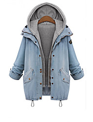 Women's Solid Blue Denim Coat , Casual / Plus Sizes