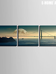 E-HOME® Stretched Canvas Art Bridge Decorative Painting Set of 3