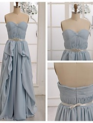 Floor-length Chiffon Bridesmaid Dress - Sky Blue A-line Sweetheart