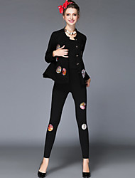 Women's Solid Black Vintage Casual/Party/Work/Plus Size Embroidery Long Sleeve 3 Piece Set Coat+Vest+Pants