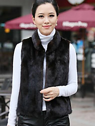 Women's Solid Color Black Vests , Casual / Party Round Sleeveless Waistcoatimitated mink coat Plus size