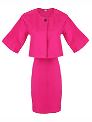 Women's Solid Color Pink / Red Suits , Casual Round Long Sleeve