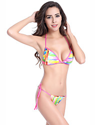 Women's Halter Bikinis , Color Block / Floral Push-up / Padded Bras Others Multi-color