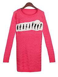 Women's Print Pink / Red / Black Sweaters , Casual Round Long Sleeve