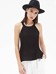 Beibei  Women's Solid Color Black Vests , Vintage / Sexy / Beach / Casual / Cute / Party / Work Round