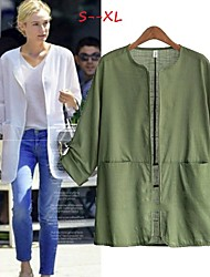 Women's Solid Color White / Black / Green Plus size Coats & Jackets , Casual / Work Round Long Sleeve