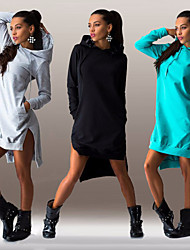 Women's Solid Color Blue / Black / Gray Dresses , Casual Hoodie Long Sleeve