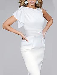Women's Crew Neck Bow Sleeve Solid High Waist Bodycon Midi Sleeveless Dress