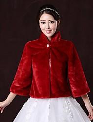 Fur Coats / Fur Wraps Coats/Jackets 3/4-Length Sleeve Faux Fur Burgundy Wedding / Party/Evening High Neck 31cm Button Clasp