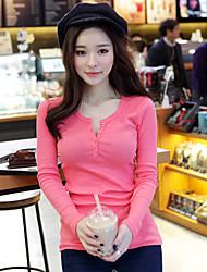 Women's Solid Pink / White / Black / Gray Blouse , Round Neck / V Neck Long Sleeve