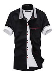 Men's Striped Casual Shirt,Nylon Short Sleeve Black / Blue / White