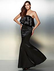 Fiesta formal Vestido - Negro Corte Sirena Hasta el Suelo - Strapless Charmeuse