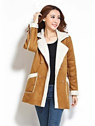Women's Solid  Casual Suede Trench Coat