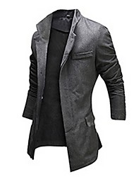 Men's Solid Casual Coat,Wool Blend Long Sleeve-Black / Gray