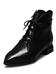 Women's Shoes Leather Low Heel Fashion Boots  / Pointed Toe Boots Office / Party & Evening / Casual Black / Gray