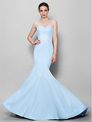 Lanting Bride® Floor-length Chiffon Bridesmaid Dress - Trumpet / Mermaid Sweetheart with