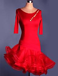 Latin Dance Dresses&Skirts Women's Training / Performance Spandex Ruched 1 Piece Purple / Red Latin Dance / Performance / SambaSpring,
