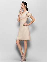 Knee-length Chiffon Bridesmaid Dress Sheath / Column V-neck with