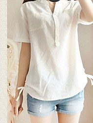 De las mujeres Camiseta - Lazo Escote en Pico - Algodón - Manga Corta