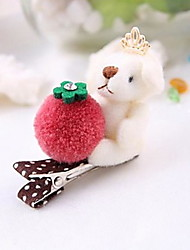 Sweet Plush Bear Crown Flower Barrettes Hairpin(10 Colors)