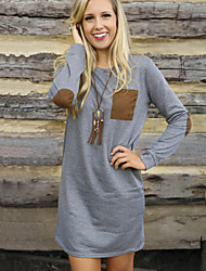 Women's Loose Patchwork Gray Dress , Casual Round Neck Long Sleeve