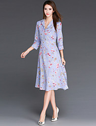 Women's Solid Blue Dress , Sexy / Bodycon / Party / Work / Maxi / Plus Sizes V Neck / Shirt Collar Long Sleeve/Fashion