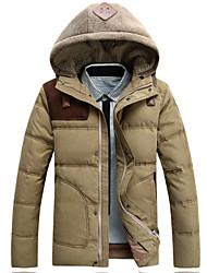 Men's Regular Parka Coat , Acrylic / Canvas / Cotton Pure Long Sleeve