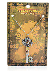 Vintage Steampunk Gear Key Pendant Necklace