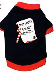 T-shirt - Chiens / Chats - Toutes Saisons - Noël - Noir - en Coton - XS / S / M / L