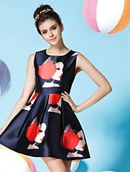 Luxury Women's High-grade Pearl Portrait Printing Casual Round Neck Sleeveless Navy Blue Dress