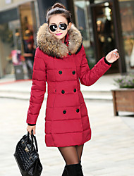 winterr Women's Solid Color Red / Black / Green Coats & Jackets , Casual Stand Long Sleeve