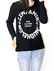 Blomma Långärmad T-shirt Kvinnors Rund hals Bomull / Fleece