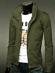 Men's Stand Coats & Jackets , Acrylic/Cotton/Organic Cotton /Polyester Long Sleeve Casual/Work Fashion/Fall AAAMAN