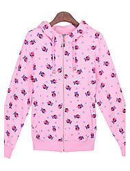 Women's Print Pink / White Sweats & Hoodies , Casual Hoodie Long Sleeve