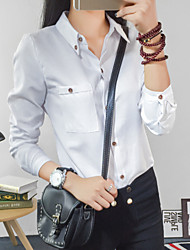 Langærmet Kvinders Lomme Krave Skjorte Polyester