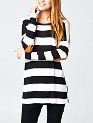 Women's Fashion Casual Party Work Plus Size Stripe Long Sleeve T-shirt