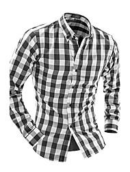 Men's Long Sleeve Shirt , Others Casual / Work / Formal Plaids & Checks