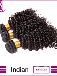 3pcs Indian Hair Bundles Weaves Natural Black Kinky Curl Hair Weft 100% Unprocessed Brazilian Human Hair Weft