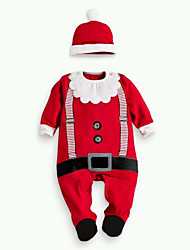 Boy Casual Daily Color Autumn Christmas Crawling Jumpsuits  Hat Two-Piece Dress