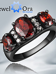 """New Fashion Noble Luxurious Red CZ Stone """"Black Gold"""" Plated Band Ring For Woman&Lady"""