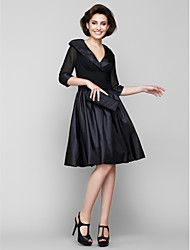LAN TING BRIDE A-line Mother of the Bride Dress - Little Black Dress Knee-length Half Sleeve Chiffon Taffeta with Ruching
