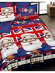 Duoma RedDarty New 3 D 13372Active Santa Claus Series Cotton Bedding FourSets