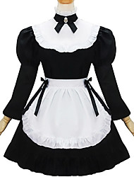 One-Piece/Dress Maid Suits Classic/Traditional Lolita Lolita Cosplay Lolita Dress Black Patchwork Long Sleeve Short Length Dress For