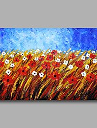 Ready to Hang Stretched Hand-Painted Oil Painting Canvas Wall Art Contempory Abstract Red Flowers One Panel