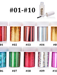 10pcs (4cmX120cm each pcs) Nail Art Transfer Foil Sticker Paper+1pcs Nail Foil Glue
